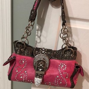 Rustic Couture Pink and Brown Dazzling Purse